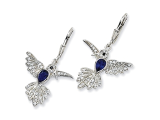 Cheryl M(tm) Sterling Silver Synthetic Sapphire Hummingbird Leverback Earrings