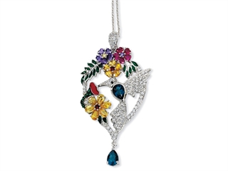 Cheryl M(tm) Sterling Silver Enameled CZ and Sim. Gemstones Hummingbird 18in Necklace