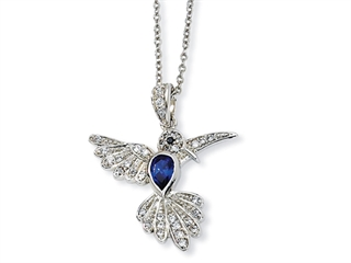 Cheryl M(tm) Sterling Silver CZ and Synthetic Sapphire Hummingbird 18in Necklace