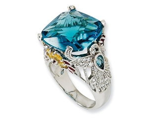 Cheryl M(tm) Sterling Silver Enameled Simulated Blue Topaz/CZ Hummingbird Ring