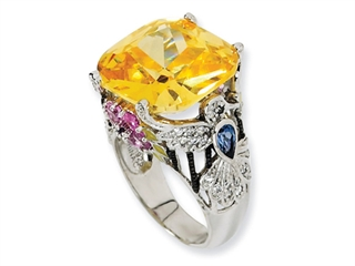 Cheryl M(tm) Sterling Silver Enameled Canary CZ Hummingbird Ring