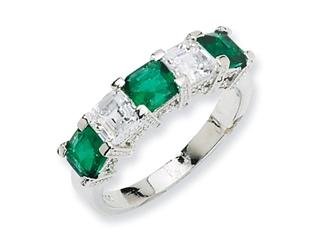 Cheryl M Sterling Silver Asscher-cut Simulated Emerald/CZ 5-stone Ring