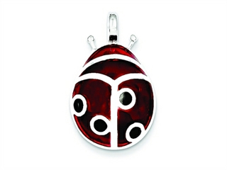Sterling Silver Red Resin Ladybug Pendant - Chain Included