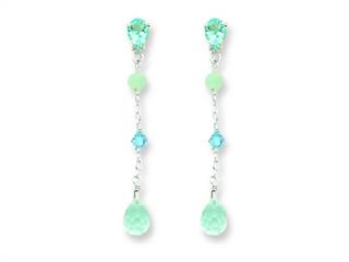 Sterling Silver Blue Topaz/amazonite/blue Crystal Earrings