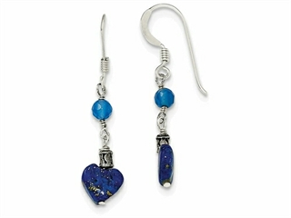 Sterling Silver Lapis/blue Agate Antiqued Earrings