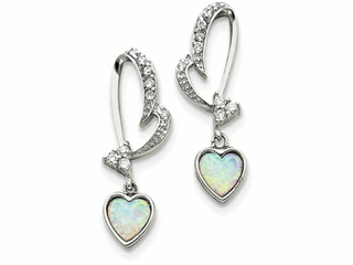 Sterling Silver Created Opal And Cubic Zirconia Heart Earrings