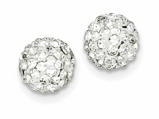 Sterling Silver 10mm White Cubic Zirconiaech Crystal Post Earrings