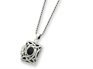 Sterling Silver Onyx and Marcasite Square Locket Necklace W/chain