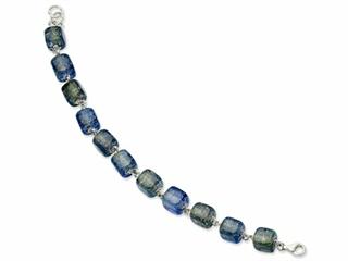 Sterling Silver Blue Dichroic Glass 8in Bracelet