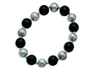 Sterling Silvr 12mm Black Agate 10mm Freshwater Cultured Silver Pearl Stretch Bracelet