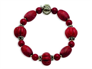 Sterling Silver Antiqued Beads and Red Coral Stretch Bracelet