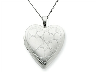 925 Sterling Silver 20mm with Floating Hearts Heart Locket Necklace - Chain Included