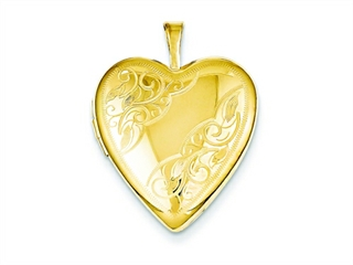 The dazzling 1/20 Gold Filled 20mm Side Swirled Heart Locket - Chain Included, crafted in 14 kt Yellow Gold Filled. This product measures 19.00 mm wide, 25.00 mm long.<br />  Free 18 inches chain included  Bail Width: 2 mm Bail Length: 5 mm<br />.