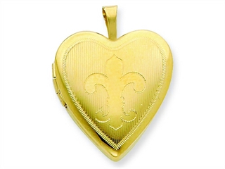The amazing 1/20 Gold Filled 20mm Fleur de lis Heart Locket - Chain Included, crafted in 14 kt Yellow Gold Filled. This product measures 19.00 mm wide, 25.00 mm long.<br />  Free 18 inches chain included <br />.