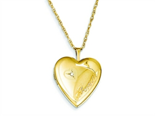 This impressing 1/20 Gold Filled 20mm Diamond in Heart Forever Heart Locket - Chain Included, crafted in 14 kt Yellow Gold Filled. This beautiful design is mounted with 1 stone pave set Round Brilliant Diamond G color I1 clarity. This product measures 19.