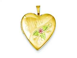 This dazzling 1/20 Gold Filled 20mm Enameled Mom Heart Locket - Chain Included, crafted in 14 kt Yellow Gold Filled. This style measures 19.00 mm wide, 25.00 mm long.<br />  Free 18 inches chain included  Bail Width: 2 mm Bail Length: 5 mm<br />.