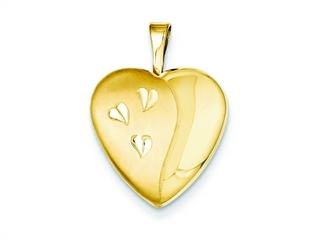 This alluring 1/20 Gold Filled 16mm Satin and Polished Heart Locket - Chain Included, crafted in 14 kt Yellow Gold Filled. This product measures 16.00 mm wide, 21.00 mm long.<br />  Free 18 inches chain included  Bail Width: 2 mm Bail Length: 5 mm<br />.
