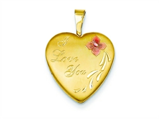 This attractive 1/20 Gold Filled 16mm Enameled Flower I Love You Heart Locket - Chain Included, crafted in 14 kt Yellow Gold Filled. This product measures 16.00 mm wide, 21.00 mm long.<br />  Free 18 inches chain included  Bail Width: 2 mm Bail Length: 5