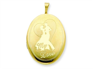 This dazzling 1/20 Gold Filled 20mm My Love with Couple Oval Locket - Chain Included, crafted in 14 kt Yellow Gold Filled. This design measures 20.00 mm wide, 32.00 mm long.<br />  Free 18 inches chain included <br />.