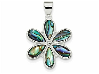 Sterling Silver Flower Abalone Pendant Necklace - Chain Included