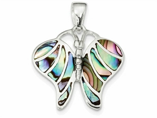 Sterling Silver Abalone Butterfly Pendant Necklace - Chain Included