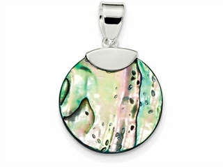 Sterling Silver Round Abalone Pendant Necklace - Chain Included