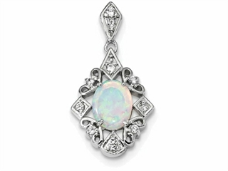 Sterling Silver Created Opal and Cubic Zirconia Pendant Necklace - Chain Included