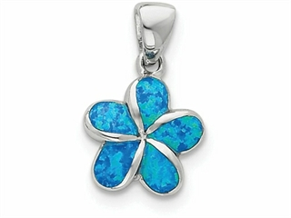 Sterling Silver Created Blue Inlay Opal Flower Pendant Necklace - Chain Included