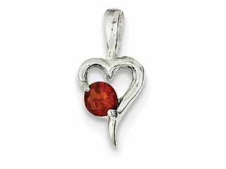 Sterling Silver With Red Cubic Zirconia Heart Pendant Necklace - Chain Included