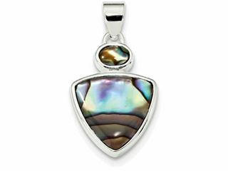 Sterling Silver Abalone Shell Pendant Necklace - Chain Included