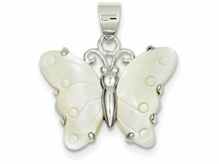 Sterling Silver White Shell Butterfly Pendant Necklace - Chain Included