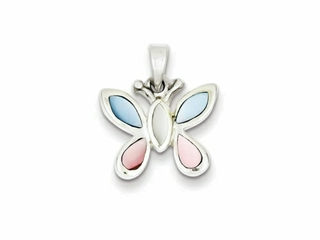 Sterling Silver Pink, White And Blue Shell Butterfly Pendant Necklace - Chain Included