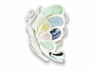 Sterling Silver Multicolored Shell Butterfly Pendant Necklace - Chain Included