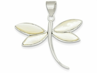 Sterling Silver White Shell Dragonfly Pendant Necklace - Chain Included