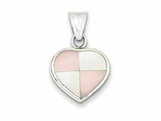 Sterling Silver White Shell Heart Pendant Necklace - Chain Included