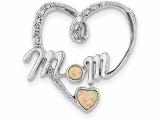 Sterling Silver Created Pink Opal And Cubic Zirconia Mom Pendant Necklace - Chain Included