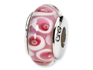 Reflections Sterling Silver Pink/Red Murano Glass Bead / Charm