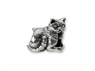 Reflections Sterling Silver Exotic Shorthair Cat Bead / Charm
