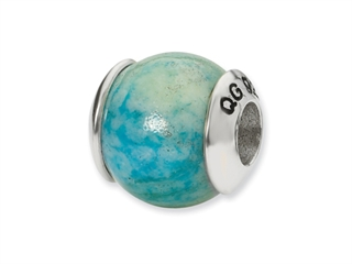 Reflections Sterling Silver Blue Yellow Recon Serpentine Stone Bead / Charm