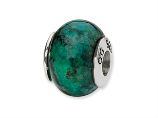 Reflections Sterling Silver Blue GreenRecon Serpentine Stone Bead / Charm