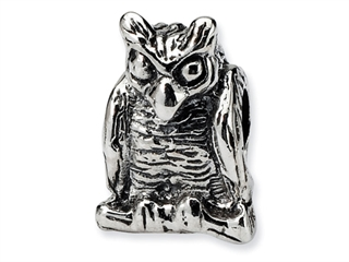 Reflections Sterling Silver Owl Bead / Charm