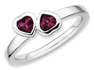 Stackable Expressions Sterling Silver Rhodolite Garnet Double Heart Stackable Ring