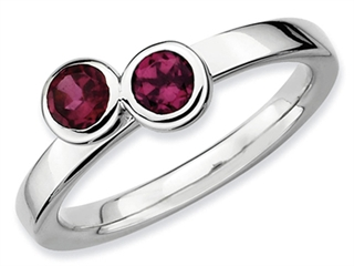 Stackable Expressions Sterling Silver Db Round Rhodolite Garnet Stackable Ring