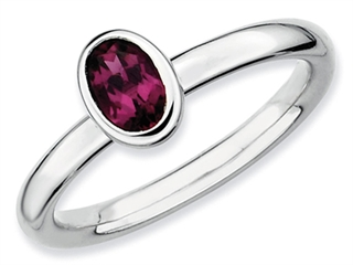 Stackable Expressions Sterling Silver Oval Simulated Rhodolite Garnet Stackable Ring