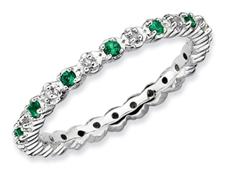 Stackable Expressions Sterling Silver Simulated Emerald and Diamond Stackable Ring