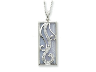Sentimental Expressions(tm) Sterling Silver Blue Lace Agate and CZ Living Water 18 Inch Necklace