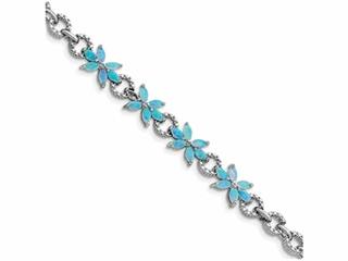 Sterling Silver 7.5inch Blue Created Opal Flower Bracelet