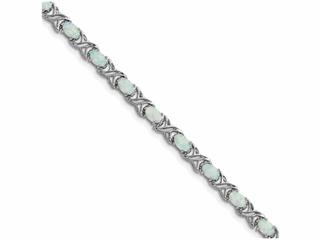 Sterling Silver 7inch Created Opal Xo Bracelet