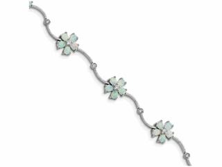 Sterling Silver 7inch Created Opal Flower Bracelet