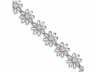 Sterling Silver 7inch Pink Created Opal Flower Bracelet